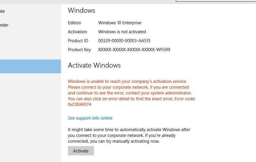 How to fix Windows 10 Activation error 0x004f074 [Troubleshooting
