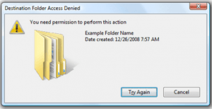 Destination Folder Access Denied