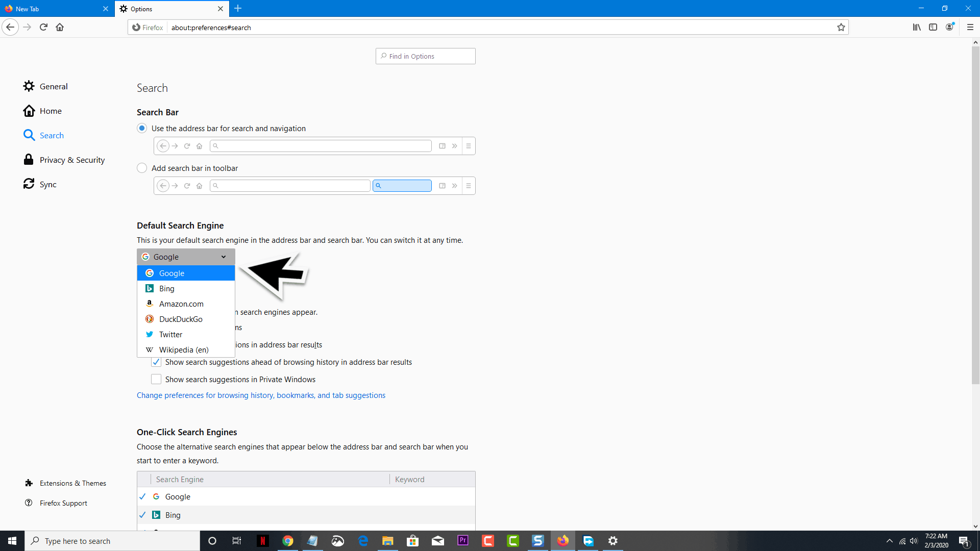 Change Search Engine in Firefox