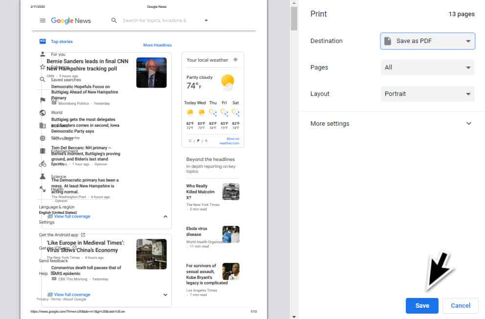 convert a webpage to PDF