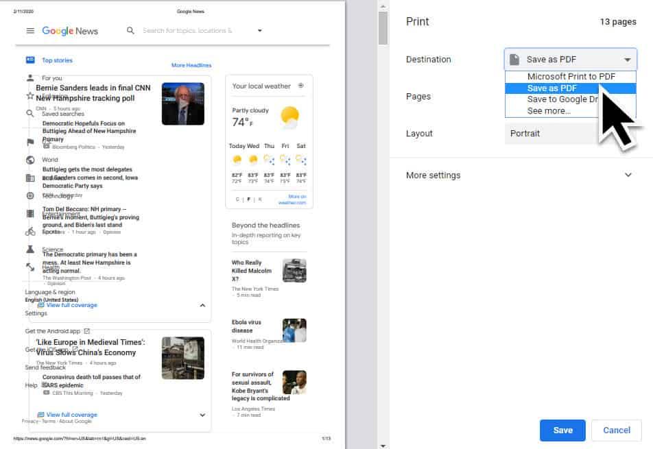 Convert Webpage To PDF Using Google Chrome