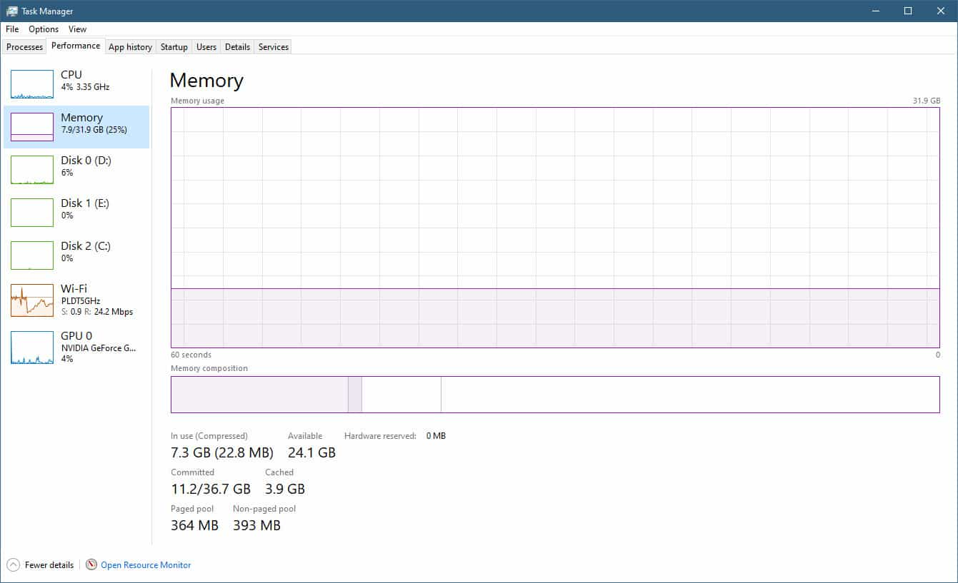Determine RAM Size in Task Manager