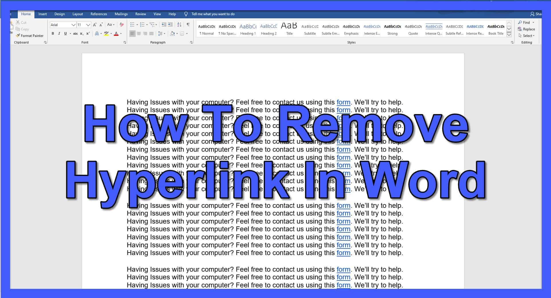 How To Remove Hyperlink In Word