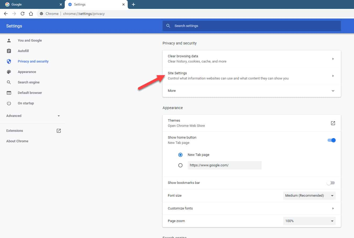 google chrome site settings