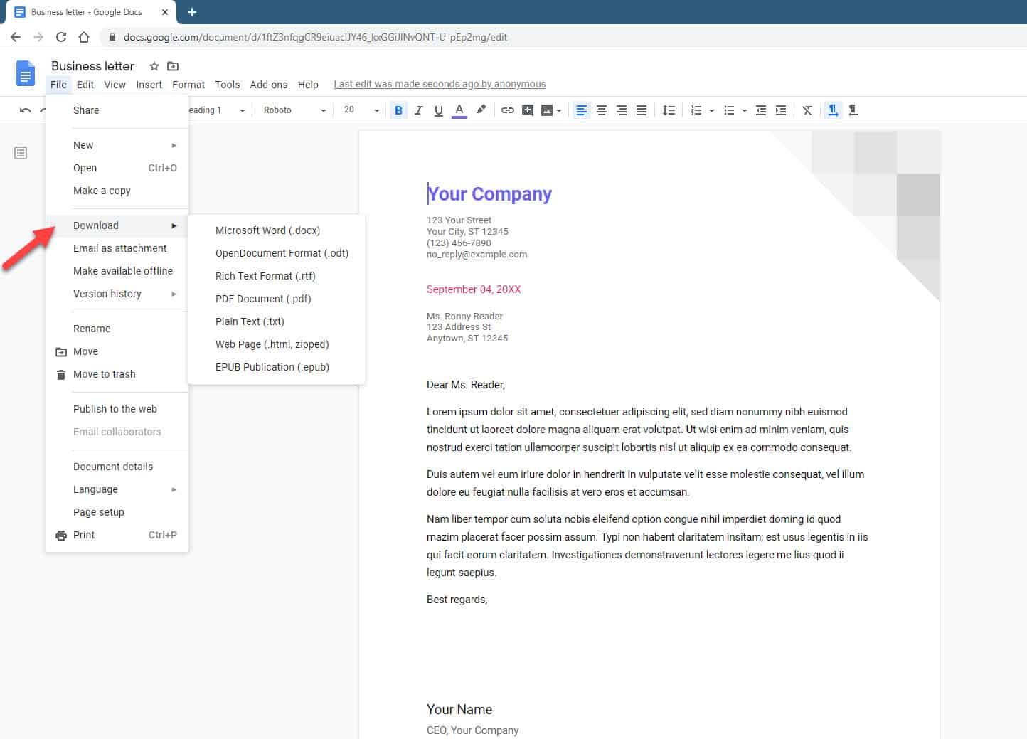 Save A Google Doc As PDF