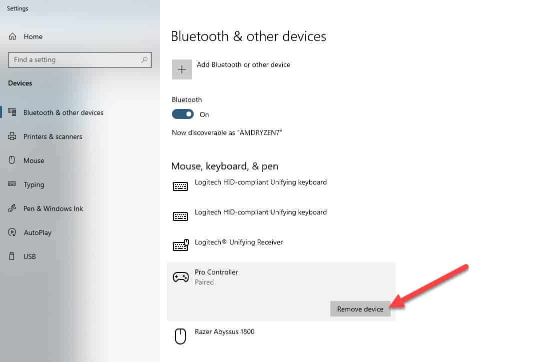 remove bluetooth device