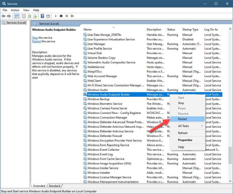 windows audio endpoint builder restart