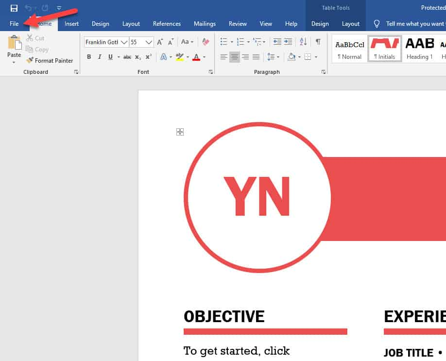 Word file tab