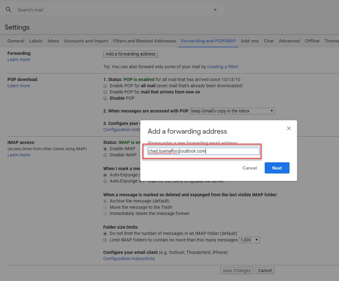 Gmail add a forwarding address
