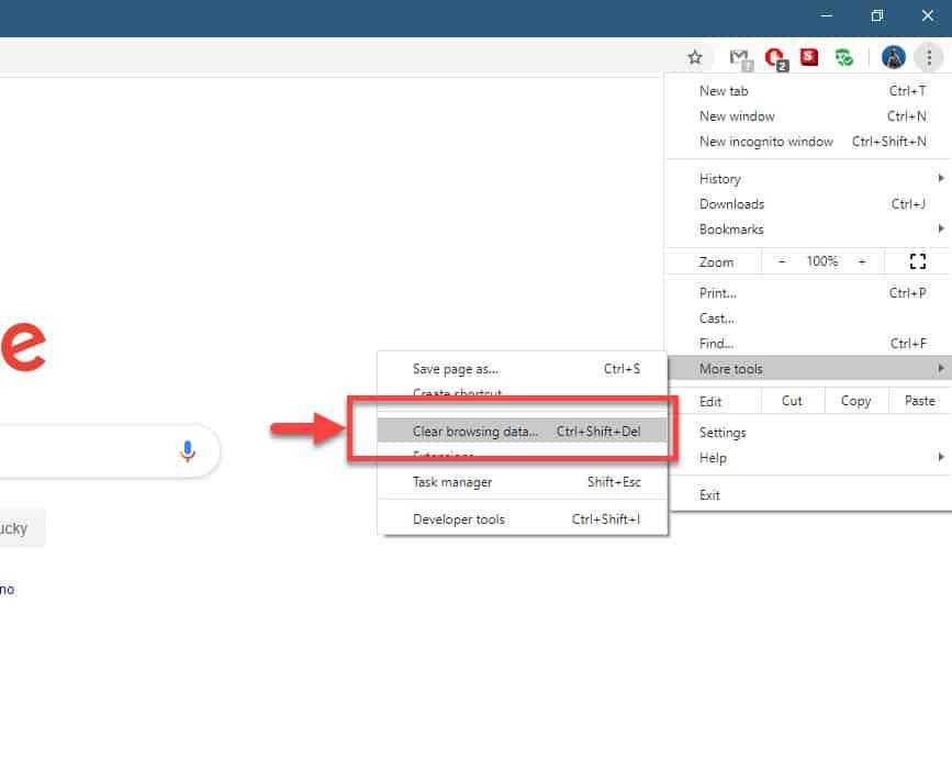 Google Chrome clear browsing data