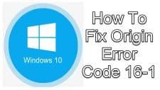 Origin Error Code 16-1