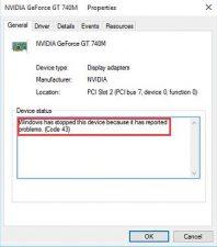 NVIDIA Error Code 43