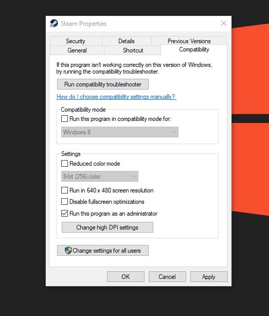 Run Steam as an administrator