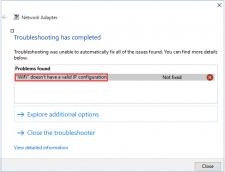 Wi-Fi No Valid IP Configuration