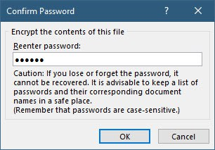 Word reenter password
