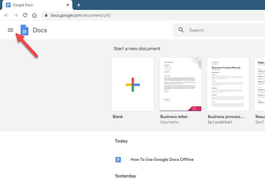 google docs menu icon