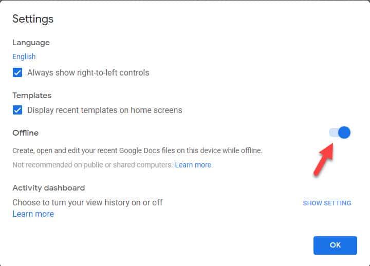 google docs offline switch