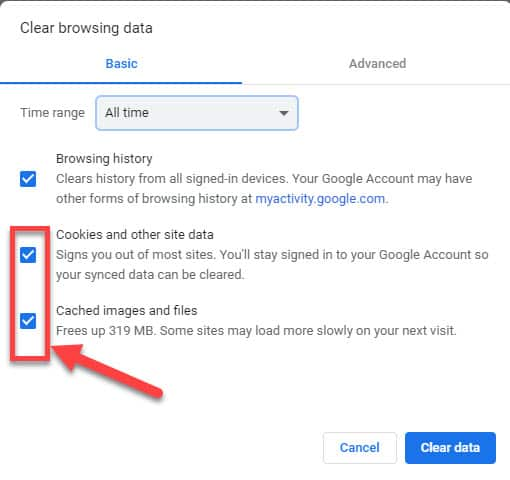 google site data cached files