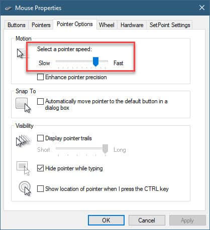 mouse properties pointer speed