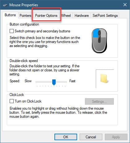 pointer options tab