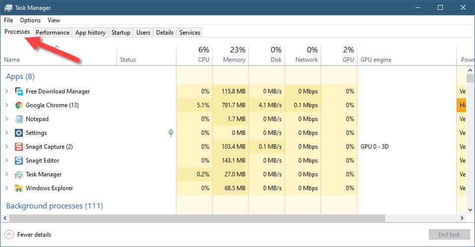 task manager process tab