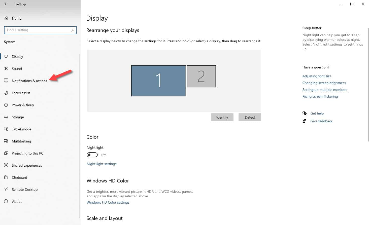 windows notifications and actions