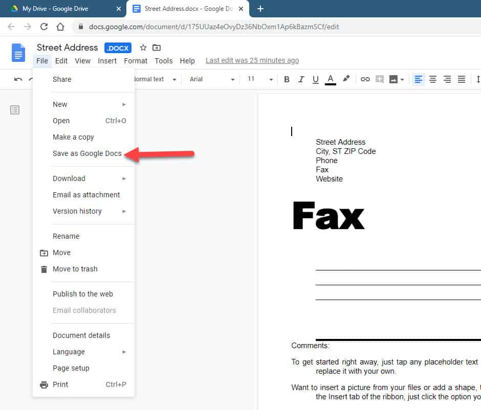 word doc save as google docs