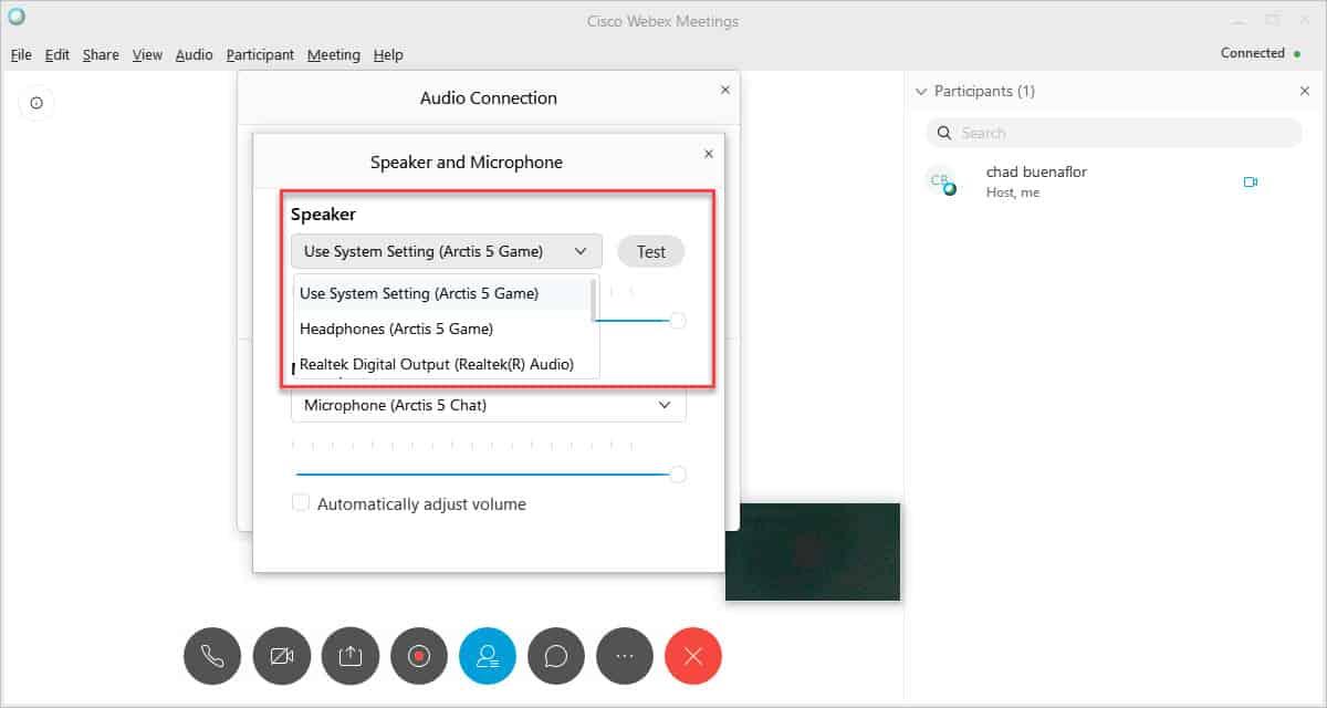 Webex speaker setting