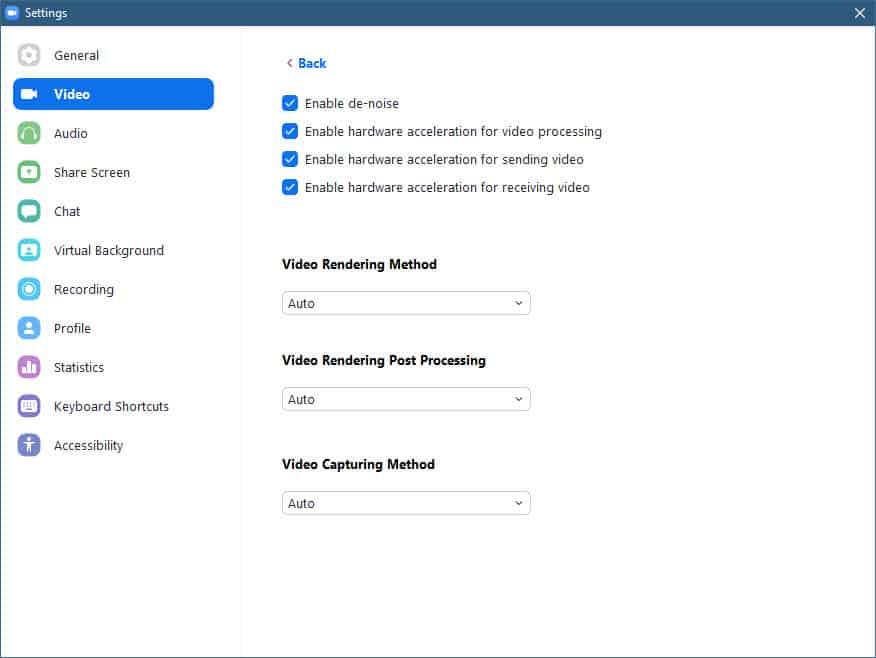 Zoom default setting