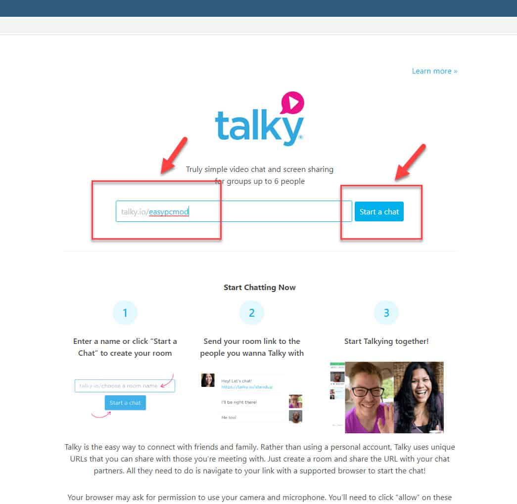create room in talky