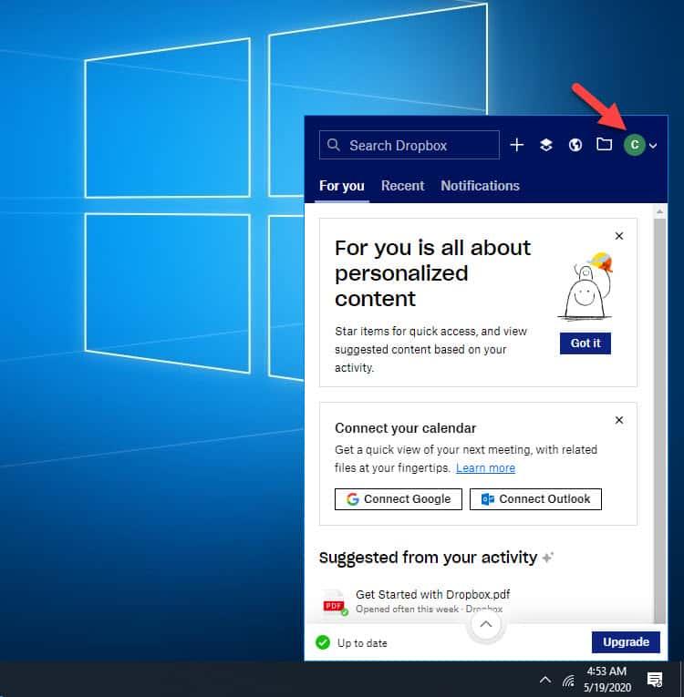 Add Dropbox to the Windows 10 File Explorer