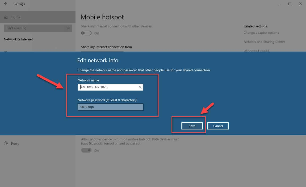 edit network info