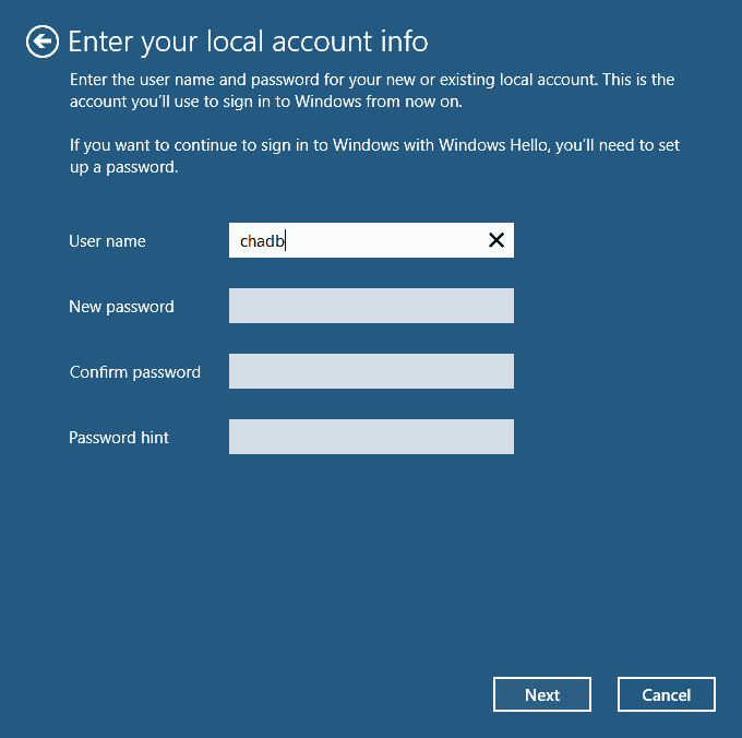 enter local account info