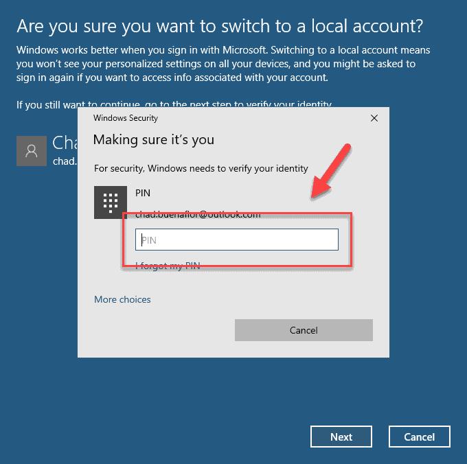 type password or pin