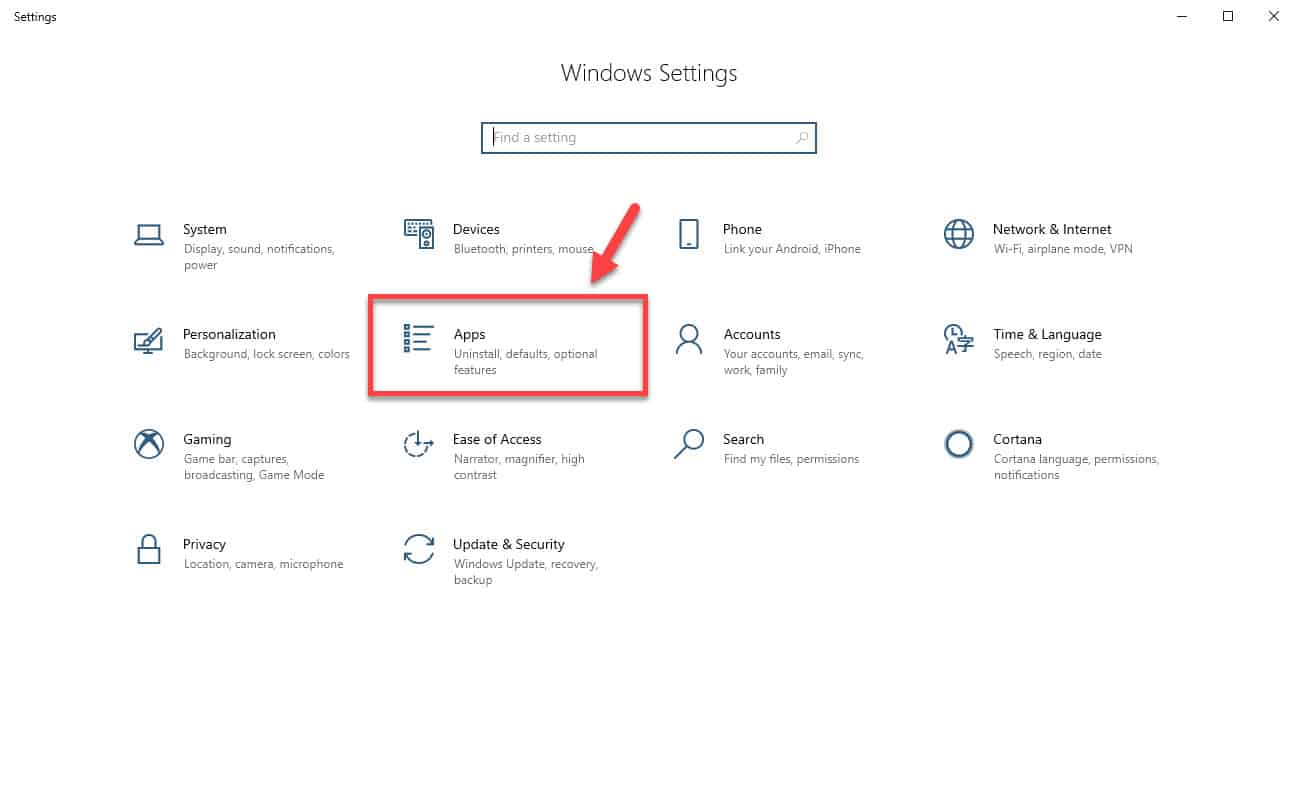Windows 10 apps setting