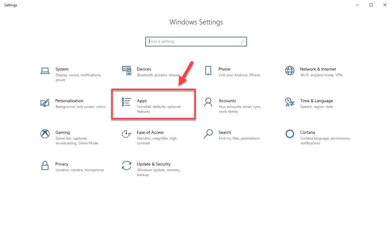Windows 10 apps setting