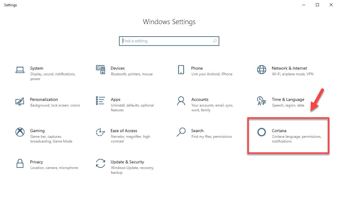 click Cortana