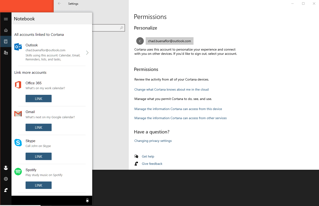 Manage Cortana Permission Settings In Windows 10