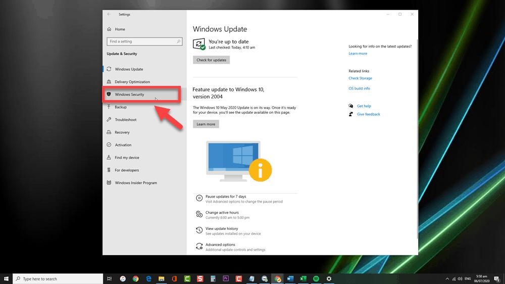Click Windows Security