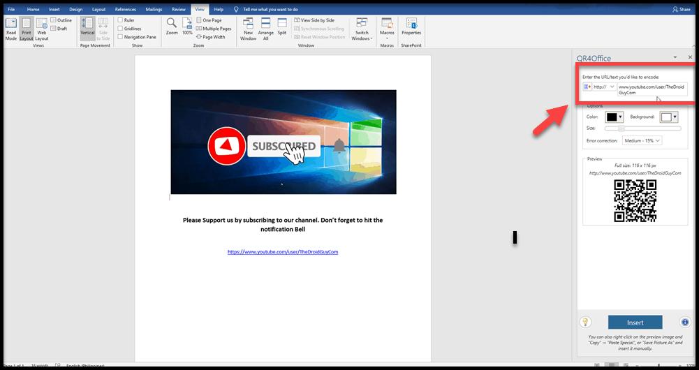 insert QR code in Microsoft Word